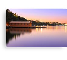 Swan River Boatshed At Sunset  Canvas Print