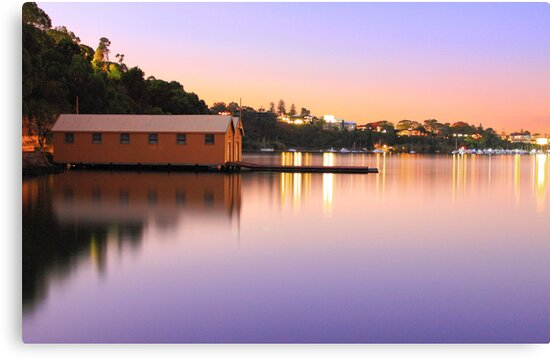 Swan River Boatshed At Sunset  by EOS20