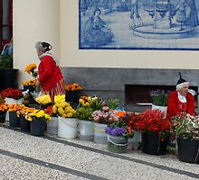Flower Sellers in Funchal Madeira by AnnDixon