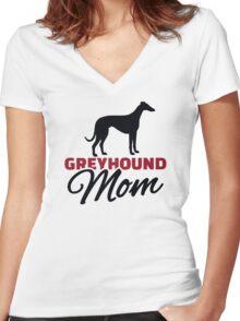 Greyhound Mom Women's Fitted V-Neck T-Shirt