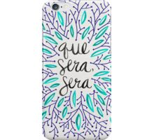 Whatever Will Be, Will Be (Navy & Turquoise) iPhone Case/Skin