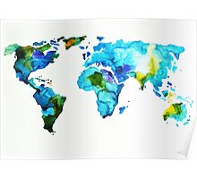 Blue Green World Map Poster