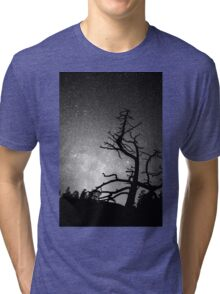 Astrophotography Night Black and White Portrait View Tri-blend T-Shirt
