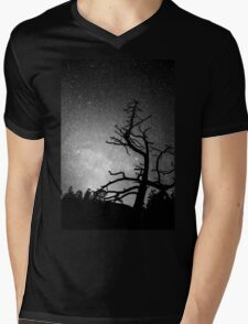 Astrophotography Night Black and White Portrait View Mens V-Neck T-Shirt
