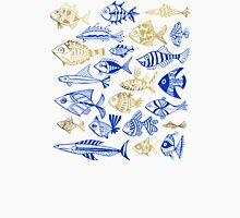 Gold & Navy Inked Fish Unisex T-Shirt