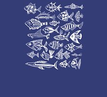 White Inked Fish on Navy Unisex T-Shirt
