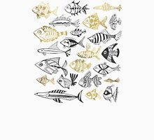 Grey & Gold Inked Fish Unisex T-Shirt