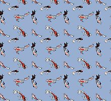 Pattern with red koi carp by monstreh