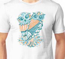 Owls – Teal & Orange Unisex T-Shirt