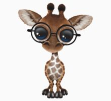 Cute Curious Baby Giraffe Wearing Glasses on Green Kids Clothes