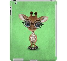 Cute Curious Baby Giraffe Wearing Glasses on Green iPad Case/Skin