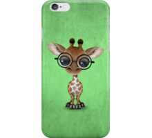 Cute Curious Baby Giraffe Wearing Glasses on Green iPhone Case/Skin