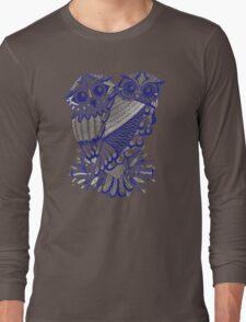Owls – Silver & Navy Long Sleeve T-Shirt