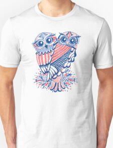 Owls – Navy & Red Unisex T-Shirt