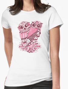 Owls – Maroon & Pink Womens Fitted T-Shirt