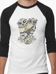 Owls – Black & Gold on Cream Men's Baseball ¾ T-Shirt