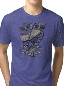 Owls – Black & Gold on Cream Tri-blend T-Shirt