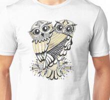 Owls – Black & Gold on Cream Unisex T-Shirt