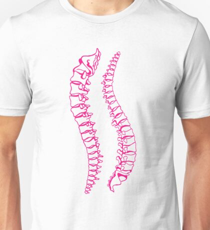 Pink Vertebrae on Gold Unisex T-Shirt