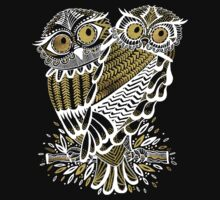 Owls – Gold & White on Charcoal T-Shirt