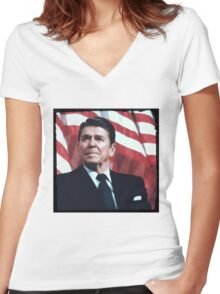 Reagan Vintage Women's Fitted V-Neck T-Shirt