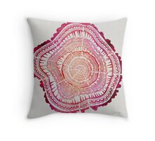 Tree Rings – Red Watercolor Throw Pillow
