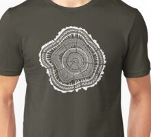 Tree Rings – White Ink on Kraft Unisex T-Shirt