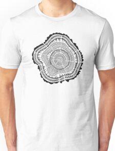 Tree Rings – Black on White Unisex T-Shirt