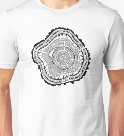 Tree Rings – Black on White Unisex T-Shirt
