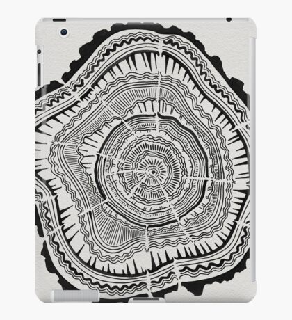 Tree Rings – Black on White iPad Case/Skin