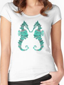 Seahorse – Turquoise & Silver Women's Fitted Scoop T-Shirt
