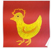 Rooster on Red by Holly Cannell Poster