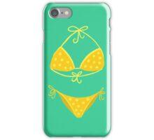 Yellow Polka Dot Bikini on Mint iPhone Case/Skin