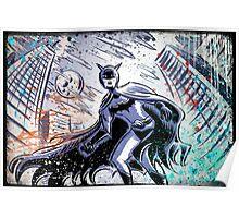 1940's Batman Art Print Serial saturday matinee dc comics comic book vigilante super hero illustration drawing joe badon blue bob cane film Poster