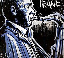 John Coltrane, Art, jazz, illustration, free jazz, music, saxophone, miles davis, dizzy gillespie, blue, black, white, drawing, sax, love supreme by Joe Badon