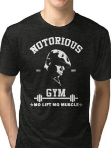 Notorious Gym - Mo Lift Mo Muscle Biggie Motivational Mashup Tri-blend T-Shirt