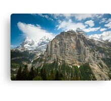Eiger, Mönch and part of Jungfrau mountain Canvas Print