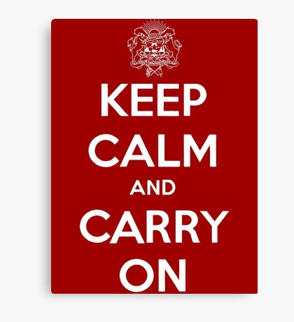 Keep Calm Carry On Calgary White Canvas Print