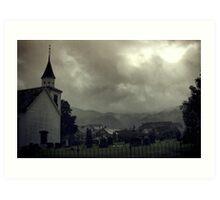 Church in the rain Art Print