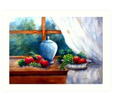 BLUE GINGER POT WITH GRAPES AND APPLES Art Print