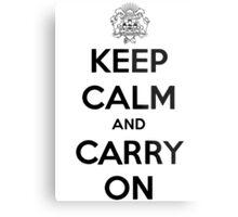 Keep Calm Carry On Calgary Black Metal Print