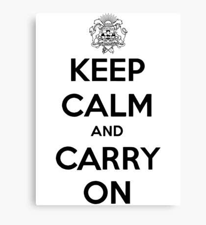 Keep Calm Carry On Calgary Black Canvas Print