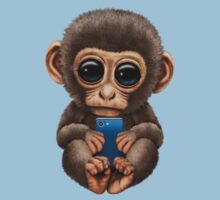 Cute Baby Monkey Holding a Blue Cell Phone  Kids Clothes