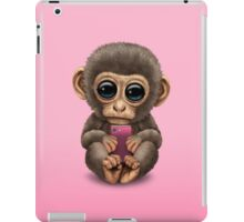 Cute Baby Monkey Holding a Pink Cell Phone  iPad Case/Skin