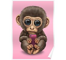 Cute Baby Monkey Holding a Pink Cell Phone  Poster