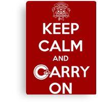 Keep Calm Carry On Calgary White Canvas Print
