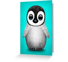 Cute Baby Penguin on Blue Greeting Card