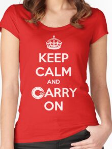 Keep Calm Carry On Calgary White Women's Fitted Scoop T-Shirt