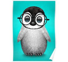 Cute Baby Penguin Wearing Eye Glasses on Blue Poster
