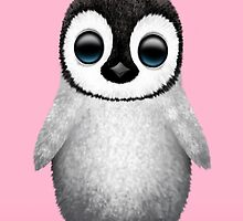 Cute Baby Penguin on Pink by Jeff Bartels
